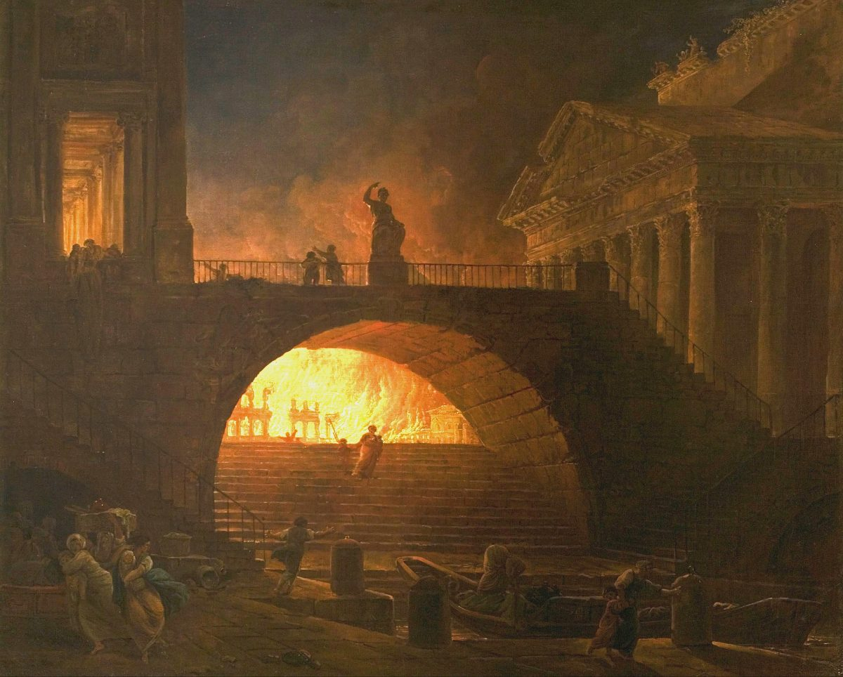 Fire in Rome by Hubert Robert.